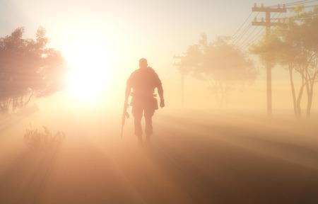 Silhouet van een soldaat in de mist.