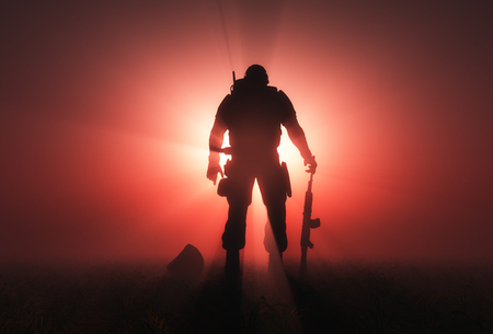 Silhouette of a soldier on a red background.