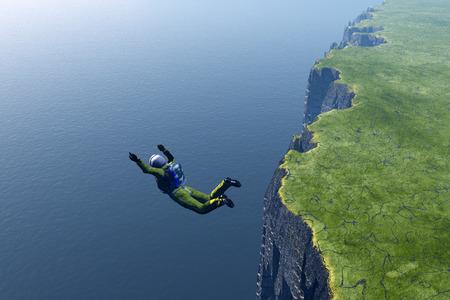parachuting: Parachutist on the green island.