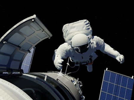 shuttle: Astronaut goes through the hatch into space.