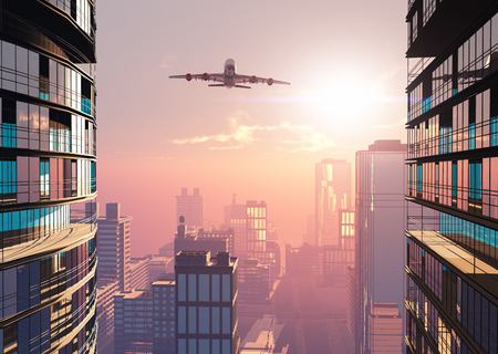 cargo transport: The  planeon a background a city