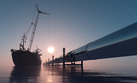 fuel storage: Construction of the pipeline into the sea.