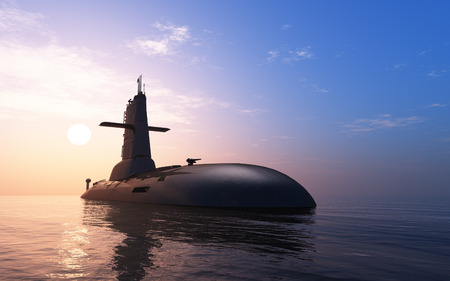 submarine: Submarine against the evening sky.