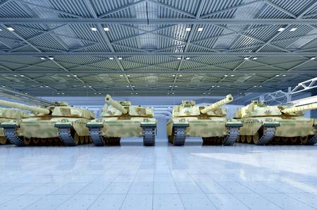 tanque de guerra: Vehículo militar en el garaje.