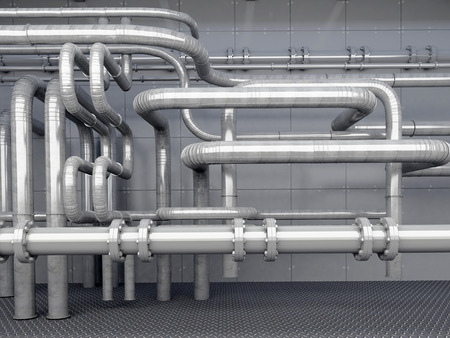 catalyst: A lot of pipes on a dark background. Stock Photo