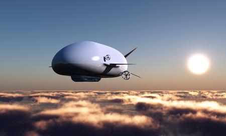 luftschiff: Das Luftschiff fliegen in den blauen Himmel.