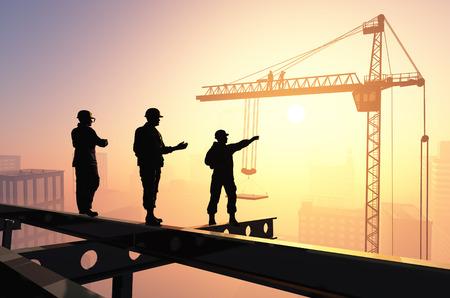estructura: Siluetas de los trabajadores en el contexto de la ciudad.