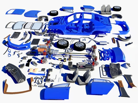 parts: Details of the car on a white background.