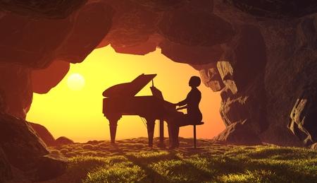 洞窟の中でピアノを弾く女性。