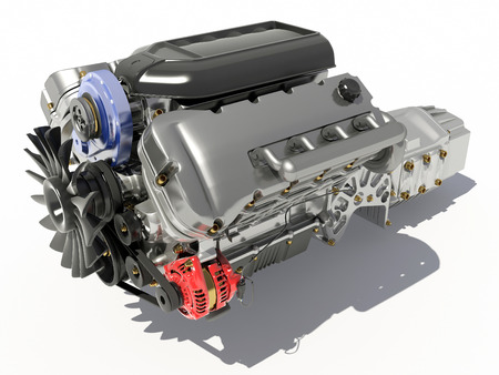 The engine of the car on a white background. 스톡 콘텐츠