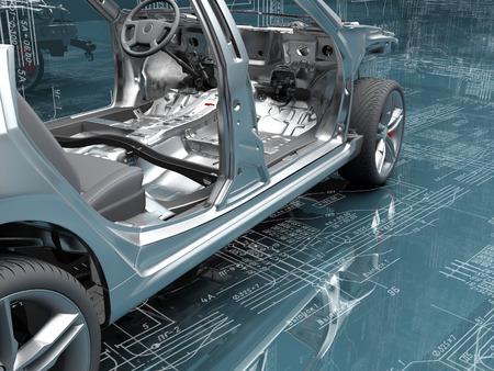 Postuur van de auto's op de achtergrond van de tekening.