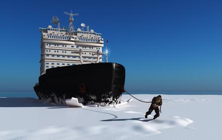 男は、ロープの砕氷船を引っ張る。