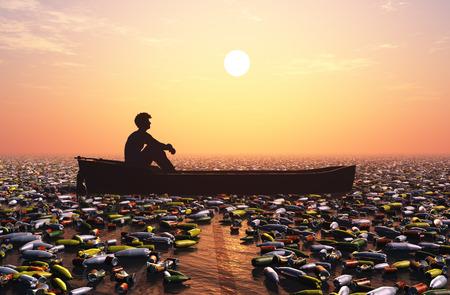 De man in de boot in een zee van afval.