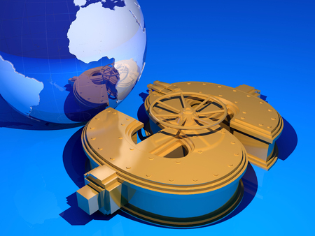 making earth: Model of the globe and gold bars on a blue background