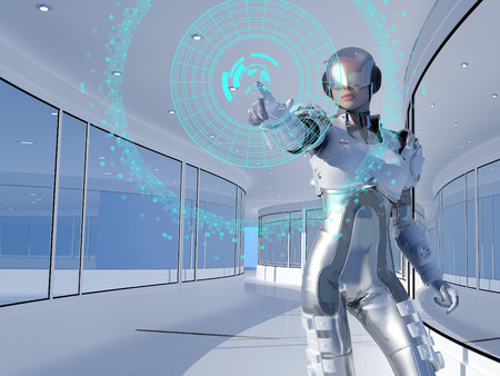 Figure of the robot in a glass tunnel. 版權商用圖片 - 48986250