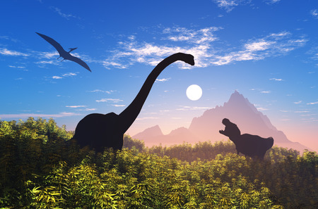 Giant dinosaur in the background of the colorful sky.