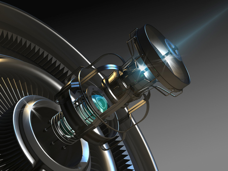 laser radiation: Graphical representation of modern equipment on a dark background.