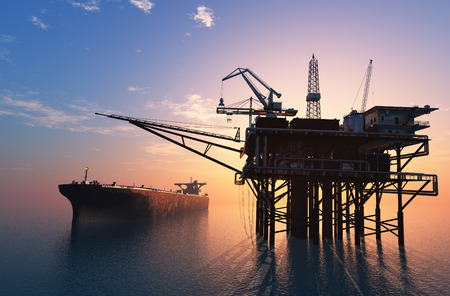 Oil production into the sea 스톡 콘텐츠