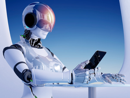 intelligent: The  robot with tablet in hand.