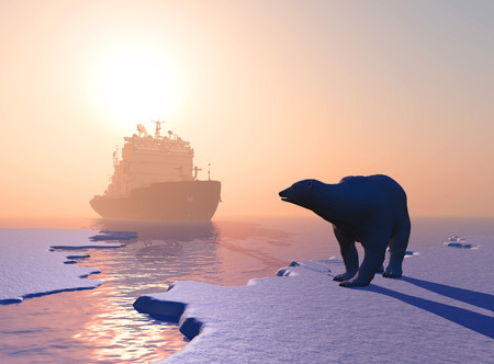 polar climate: Polar bear and icebreaker in the north. Stock Photo