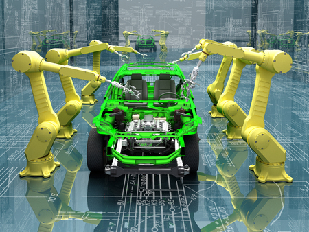engineering design: Robots group collected modern car. Stock Photo