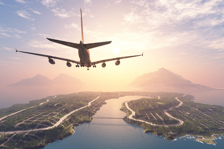 airplane landing: Modern aircraft flies over the island.