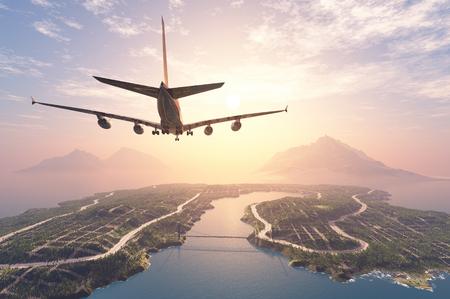Nowoczesne samoloty latają nad wyspą. Zdjęcie Seryjne