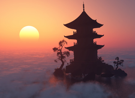 buddhist temple roof: Chinese house at sunset.