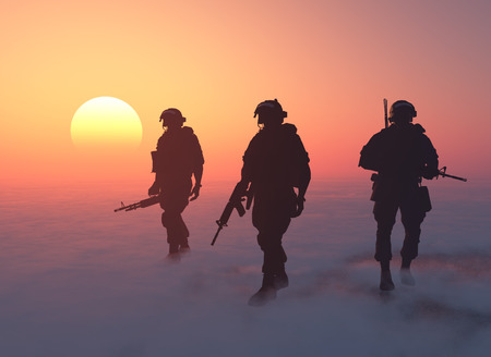 defence: A group of soldiers is fog.