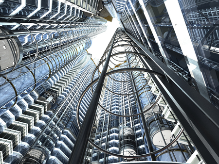 building structure: Abstract image of skyscrapers with elevators.