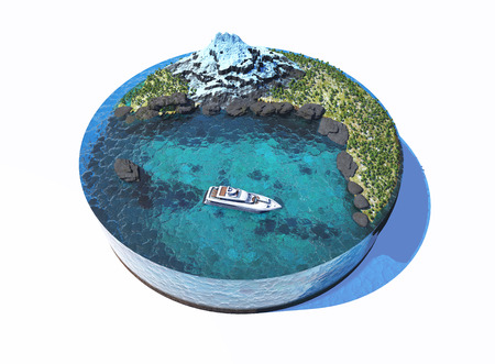 relax: Model of the island with yacht. Stock Photo