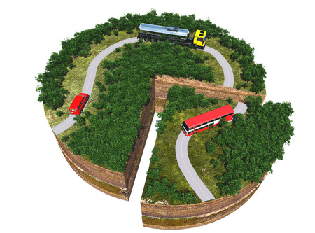 ring road: Model roads and transport on a white background.