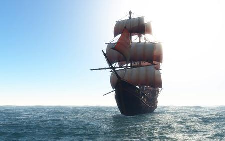 Archiwalne żaglowe Żeglarstwo w morzu. Zdjęcie Seryjne