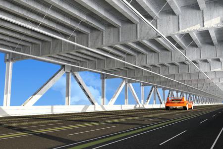 urban road: Sport car on the bridge. Stock Photo