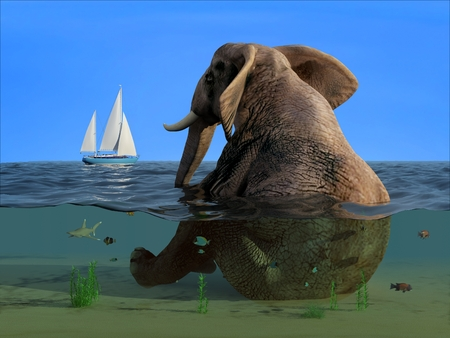 The elephant is sitting in the water.