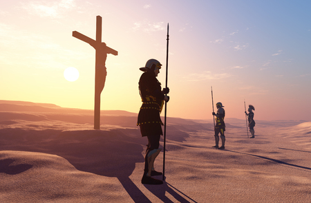 jesus face: Crucified Jesus and the soldiers in the desert.