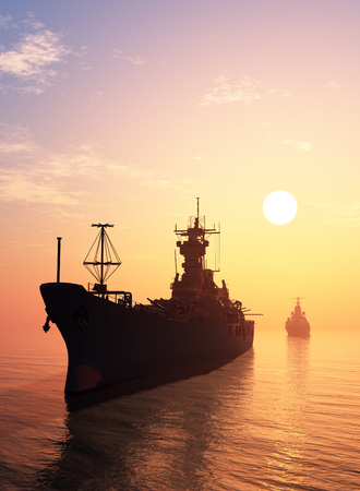 military silhouettes: The military ship in the sea