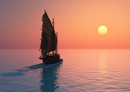 voilier ancien: Vieux bateau avec des voiles sur un lanshafty de fond coloré.