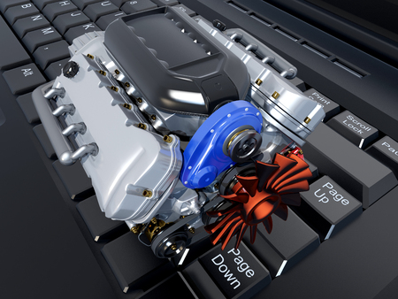 car engine: The cars engine on a laptop. Stock Photo