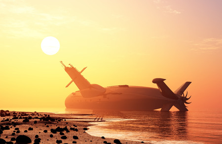 maritime accident: Submarine on the shore after the accident.
