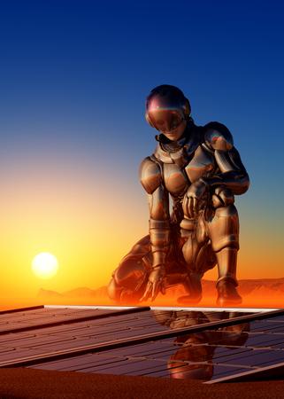 exploration: Cyborg next solar battery in the desert. Stock Photo