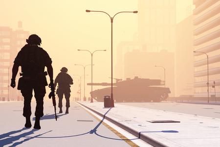 Silhouette des Soldaten auf den Straßen einer modernen Stadt.