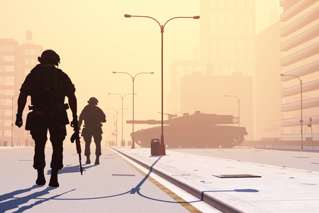 soldiers: Silhouette of the soldier on the streets of a modern city. Stock Photo