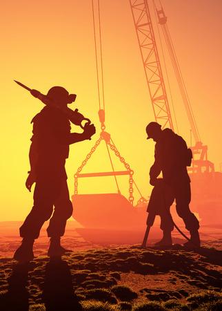 Silhouette der Arbeiter und Bagger. Standard-Bild