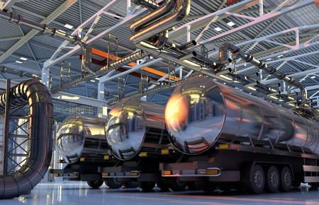 格納庫で燃料のトラック。 写真素材