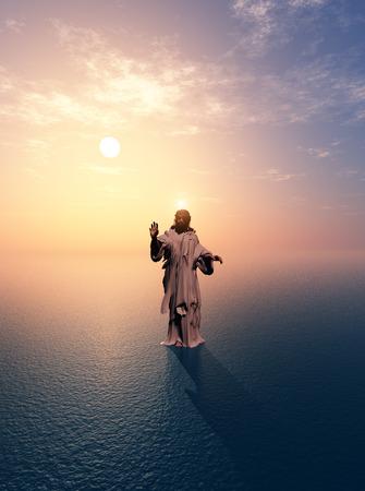antique jesus: Jesus walking on water.
