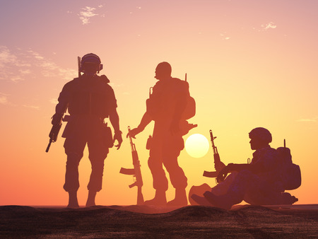 sundown: Silhouette of a group of soldiers at sundown., 3d render Stock Photo