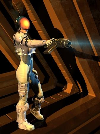 cyber warfare: Cyborg girl on a black background.3D rendering.3D rendering