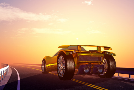 american cities: Modern cars on the road.3D rendering