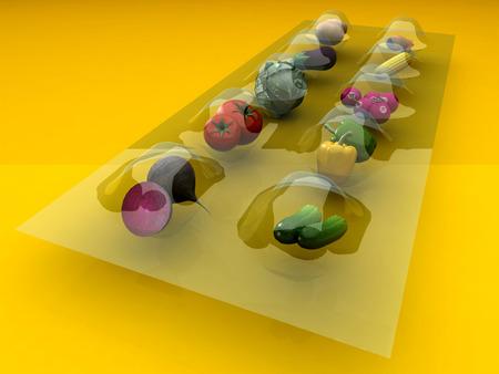 render: Vegetables in the package.3d render